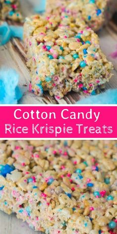 Cotton Candy Rice Krispie Treats – This is Not Diet Food Cotton Candy Rice Krispie Treats are an easy dessert recipe your kids will love. These rice krispie squares are made with melted cotton candy and loaded with cotton candy coloured sprinkles. Köstliche Desserts, Delicious Desserts, Dessert Recipes, Fudge Recipes, Easy Desserts For Kids, Birthday Desserts, Rice Recipes, Yummy Drinks, Vegan Recipes