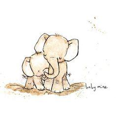 Pépinière Art--BABY MINE éléphant--Art Print