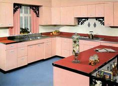 1950s pink kitchen with wrought-iron embellishments