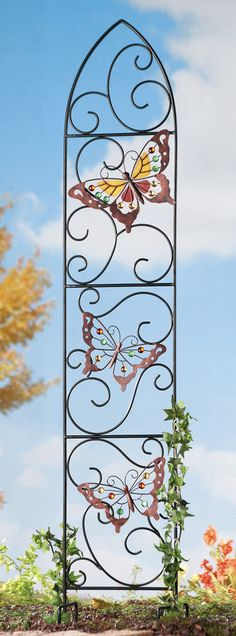 GOTHIC ARCH BUTTERFLY BUTTERFLIES TRELLIS GARDEN STAKE PLANT SUPPORT METAL  #Unbranded