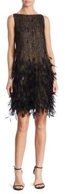 Oscar de la Renta Silk Feathered Dress