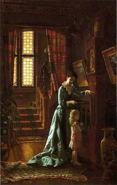 Grandfather's Clock - 1881   By Scott Evans I United States 1847-1898 Medium: Painting - oil on canvas Location: Private collection