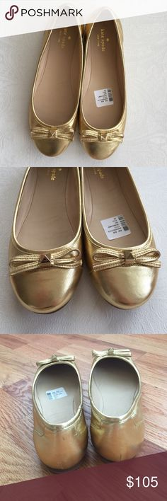 NIB Kate Spade Gold Ballet Flats NWT New Kate Spade Gold Ballet Flats NWT comes with box. Staple year round 💗 kate spade Shoes Flats & Loafers