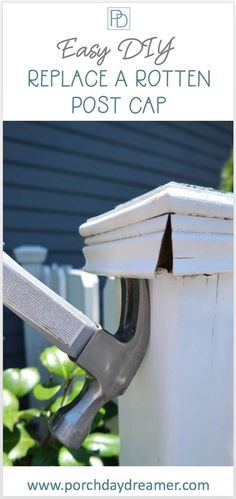 Replace rotten fence post caps yourself. A quick and inexpensive DIY solution that you don't have to paint. Replace your current fence post caps with maintenance free vinyl post caps. Fence Post Repair, Fence Post Caps, Deck Repair, Outdoor Light Fixtures, Outdoor Lighting, Lighting Ideas, Diy Fence, Fence Ideas, Porch Ideas