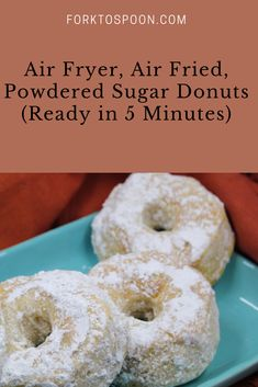 Air Fryer, Air Fried, Powdered Sugar Donuts (Ready in 5 Minutes) – Yummy Recipes Air Fryer Oven Recipes, Air Fryer Dinner Recipes, Powdered Donuts, Powdered Sugar, Beignets, Air Fry Donuts, Doughnuts, Baked Donuts, Air Fryer Doughnut Recipe