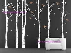 birch trees decals:wall decals, nature wall decals, vinyl wall decal, nature wall decal stickers, brich tree, nursery wall stickers on Etsy, $59.00