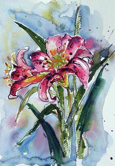 Lilly Painting by Kovacs Anna Brigitta