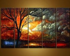Wieco Art-Spend My Life With You 100% Hand-painted Best-selling Quality Goods Wood Framed on the Back High Q. Wall Decor Landscape Oil Painting on Canvas 5pcs/set I