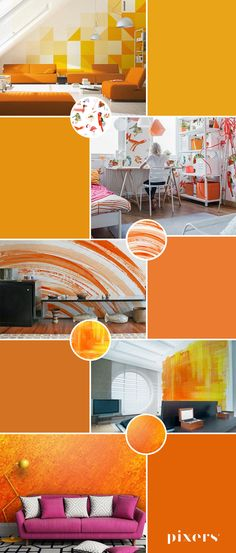 Flame Orange Self-Adhesive Wall Murals ✓ Eco-Friendly ✓ Online Configuration ✓ We will help you choose a pattern! Different Shapes, Wall Murals, Adhesive, Rainbow, Warm, Orange, Interior, Pattern, Inspiration