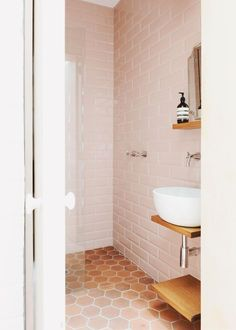 Classic's Hex terracotta tiles in Sarah Trotter's Bathroom - via the Design files Bad Inspiration, Bathroom Inspiration, Bathroom Ideas, Bathroom Inspo, Bathroom Shop, Bathroom Hacks, Bathroom Wall, 1920s Bathroom, Paris Bathroom