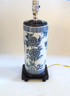 Blue and White Chinoiserie Table Lamp Wood Base Floral