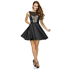 TS+Couture+Cocktail+Party+Prom+Company+Party+Dress+-+Little+Black+Dress+A-line+Strapless+Short+/+Mini+Lace+Satin+with+Lace+–+USD+$+89.99