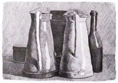 Giorgio Morandi, Still Life with Five Objects. Etching on cream wove paper, 15 in. x 18 ½ in. Bowdoin College Museum of Art, Brunswick, Maine.