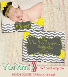 PSD birth announcement card photoshop template for professional photographers 5x7 - Y076 - flat square luxe via Etsy  Modern affordable photoshop templates for professional photographers.  If you like birdesign or hazy skies or gradybug you should check out Yummi designs!