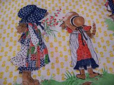 holly hobbie scraps of  fabric by ricracandbuttons on Etsy, $10.99