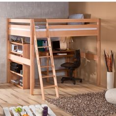Solution idéale pour les chambres de petites tailles, le lit mezzanine 140cm vous permettra d'offrir enfin à votre ado (que vous n'avez pas vu grandir !) le vaste couchage qu'il vous réclame depuis si longtemps... tout en libérant un grand espace de travail et/ou de rangement ! Fabriqué intégralement en hêtre massif, ce lit est particulièrement robuste et pourra être réutilisé plus tard comme lit simple. Il est livré avec un sommier à lattes rigides.