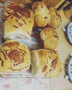 Homemade garlic, pastrami and mozzarella bread rolls