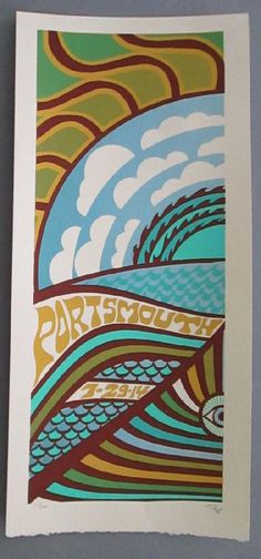 Original silkscreen concert poster for Phish in Portsmouth, Virginia in 2014. 10 x 22 inches. It is printed on Watercolor Paper with Acrylic Inks. The poster is signed and numbered out of 100 by the artist Tripp.