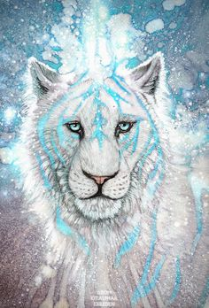 IceCrystal- Queen(LegendClan)- Female- Funny, sweet, loving, happy- Mate: BlazingSoul- Kits: Expecting- Power: Ice powers, can freeze things on touch.By Artist Unknown. Big Cats Art, Cat Art, Mythical Creatures Art, Fantasy Creatures, Tiger Artwork, Creature Drawings, Lion Art, Cute Animal Drawings, Animal Wallpaper