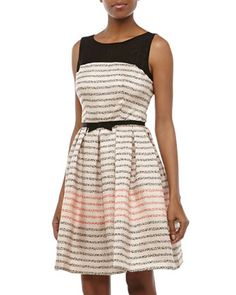 Dotted-Stripe Fit-and-Flare Dress, Blush/Black by Taylor at Neiman Marcus Last Call.
