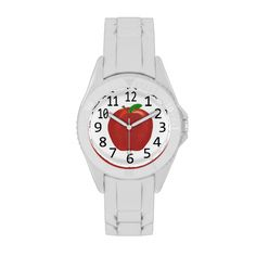 Red Apple Painting with Numbers Watch #apple #red #fruit #watches #forteachers