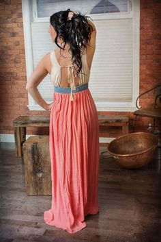 Sweet {Jolie} — Embroidered Open-Back Maxi Dress