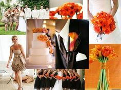 Tangerine and tan, but I would def. have the bridesmaids and groom in tan and not black
