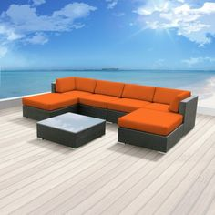 The Mallina II Sofa Sectional Set is a perfect mix of streamline modern style and lightweight practicality. This set is intended for a medium to large space. It includes two ottomans two middle secti...