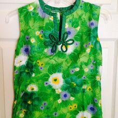 VTG Paradise Hawaii Asian Style Hawaiian Dress 6 Small Tiki Mod Green Short #Paradisehawaii #Hawaiian #Casual