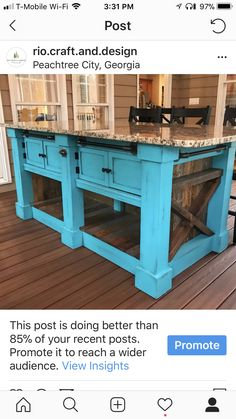 A large renovation task not only includes a big quantity of work, however also a relatively large quantity of time, but completion result is generally more than worth it. Marble Top Kitchen Island, Rustic Kitchen Island, Farmhouse Kitchen Decor, Farmhouse Ideas, Wood Crafts Furniture, Handmade Furniture, New Furniture, Furniture Ideas, Furniture Companies