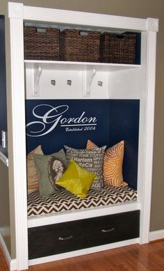 Closet makeover: Love the last name and chevron bench!