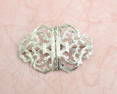 Large antique sterling silver brooch with foliate pattern and open metal work, 1907 by CardCurios on Etsy Silver Brooch, Fashion Books, Vintage Brooches, Metal Working, Delicate, Lettering, Sterling Silver, Antiques, Pattern