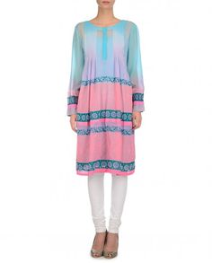 Floral Printed Blue and Pink Tunic
