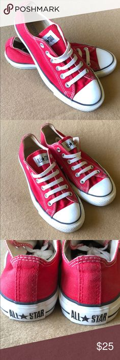 edd7782fab2 Red Converse All Star Sneakers Pre-loved red Converse All Star Sneakers.  Unisex women s