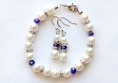 Bridesmaid pearl bracelet and earrings set by WeddingCollections, $16.50