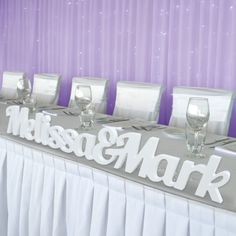 White Freestanding Joined Names Wedding Sign Set