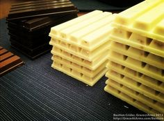 Stacks of White, Dark, and Milk Chocolate Kit Kat Bars (click the image for the article/gallery)