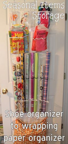 Shoe organizer becomes a wrapping paper organizer -- plus I could use YOUR vote on SYTYC!