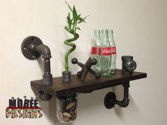 Black Pipe Shelf with Mason Jar Vase