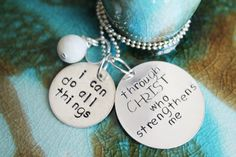 Bible Verse Necklace Philippians 4 13 Hand Stamped by HoneyThorns, $32.00