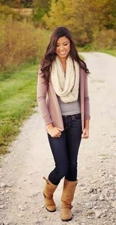 Long white scarf, cardigan, grey shirt, jeans and brown long shoes for fall