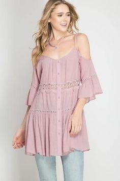 Fancy Lace Trim Cold Shoulder Top
