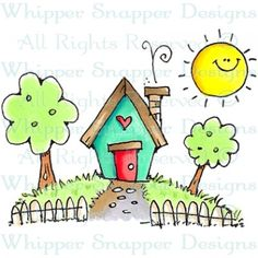 New House Art Illustration Ideas 53 Ideas Art Drawings For Kids, Doodle Drawings, Doodle Art, Easy Drawings, Art For Kids, Crafts For Kids, House Drawing For Kids, Watercolor Cards, Whimsical Art