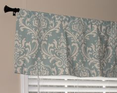 """Premier Prints Village Blue and Natural Damask Valance 50"""" wide x 16"""" long Lined with Cotton Muslin. $35.00, via Etsy."""