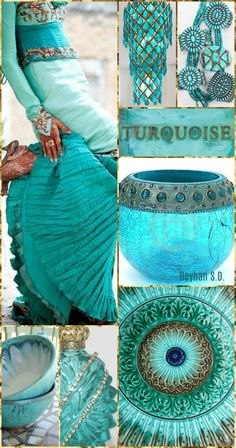 '' Turquoise '' by Reyhan S. Teal Aqua Turquoise with white grey and brass accents. '' Turquoise '' by Reyhan S. Teal Aqua Turquoise with white grey and brass accents. Bleu Turquoise, Shades Of Turquoise, Shades Of Blue, Turquoise Fashion, Turquoise Jewelry, Colour Schemes, Color Trends, Color Combos, Azul Tiffany