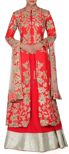 Buy this Red lehenga matched with embroidered long jacket blouse only on Kalki