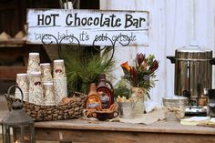 Kerrie & Marshall's rustic wedding at Hutcheson Plantation. Hot Chocolate Bar at reception.   Photo by La Bella Vita Photography.