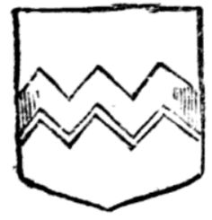 A modern representation of the Arms of Vavasour (or, a feffe dancette, sable), from The Grammer of Heraldry by Samuel Kent (1720).