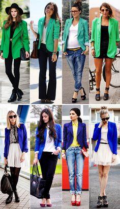 Assim como os de cor neutra, os blazers coloridos também são coringas!