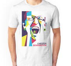 Unisex T-Shirt • Also buy this artwork on apparel, stickers, phone cases, and more.  #ripchesterbe #ripchesterbennington #rockstar #hipmetal #metal #pop #chesterbennington #music #musician #masterpiece #legend #allstar #linkinpark